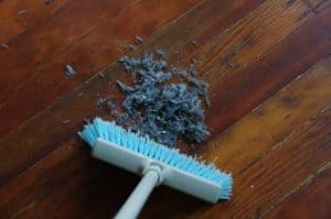 one minute chore sweeping up dust bunnies